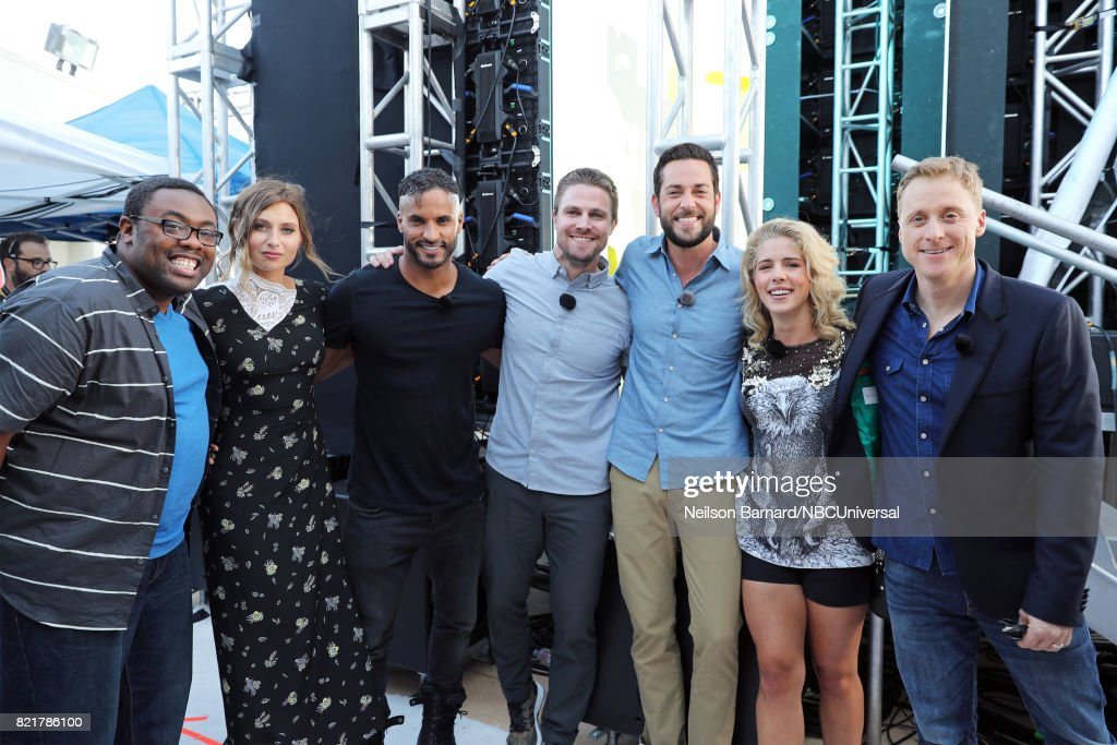 CON -- Friday, July 21st, 2017 -- Pictured: (l-r) Andre Meadows, Aly Michalka, Ricky Whittle, Stephen Amell, Zachary Levi, Emily Bett Rickards, and Alan Tudyk --