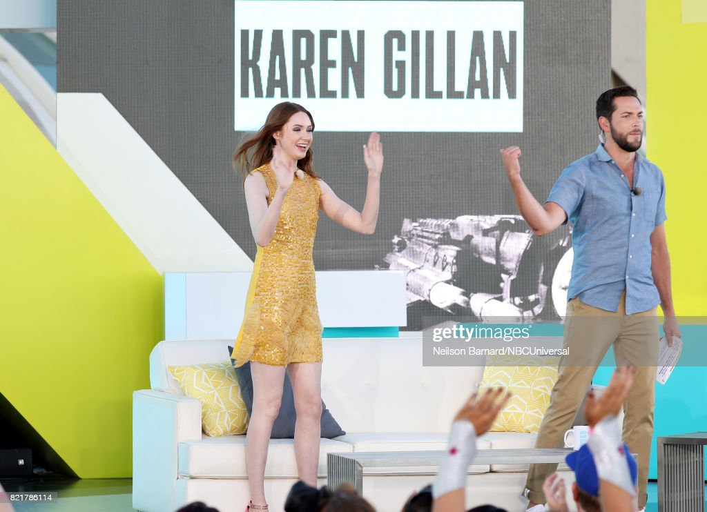 CON -- Friday, July 21st, 2017 -- Pictured: (l-r) Karen Gillan and Zachary Levi --