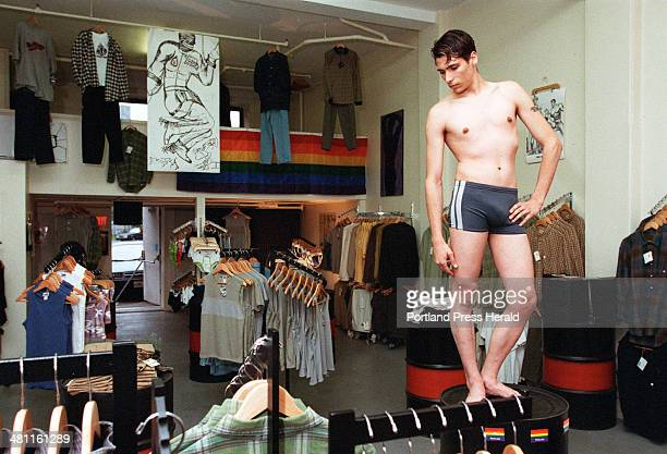 Alex Silva models a boxcut bathing suit at Male Ego 644 Congress St Portland The store run by Jeff Poulin sells industrial gay gear