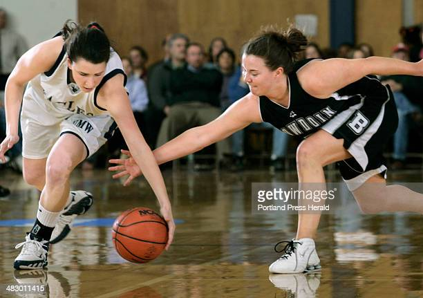 Friday March 10 Staff photo by Derek Davis Katie Cummings of Bowdoin right dives in to steal the ball from Kaitie Clarkin of Mary Washington during...