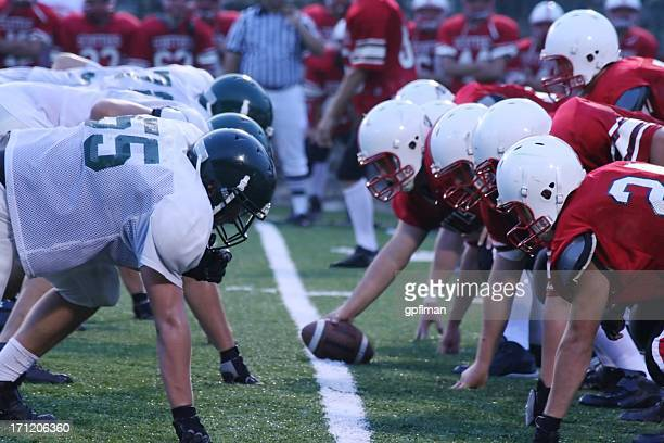 friday night football - line of scrimmage stock pictures, royalty-free photos & images