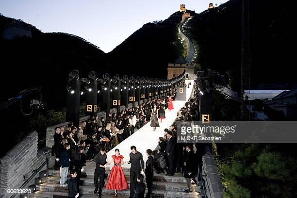 Friday October 19 the LVMH group has organized a show has 10 million for the parade of the brand of readytowear Italian Fendi on the Great Wall of...