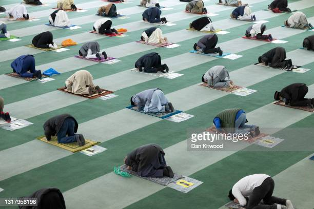 Friday prayers are observed at the Baitul Futuh Mosque on May 14, 2021 in London, England. Eid Al-Fitr has marked the end of Ramadan, the monthlong...