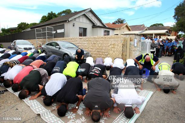 Friday prayers spill out on to the street at the Lakemba Mosque on March 22 2019 in Sydney Australia 50 people were killed and dozens were injured in...