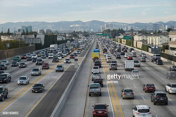 friday traffic on the 405 freeway north los angeles california - westwood neighborhood los angeles stock pictures, royalty-free photos & images