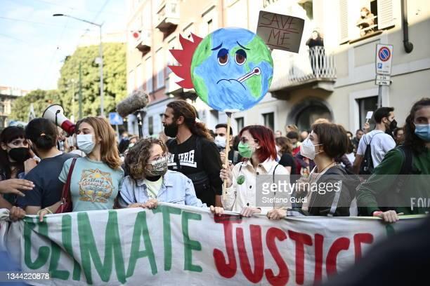 Fridays For Future activists participate in a climate strike march on October 1, 2021 in Milan, Italy. On the sidelines of various pre-COP26 summits...