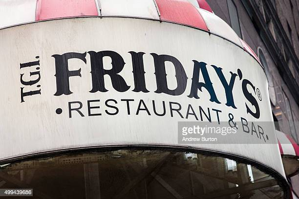 Friday's restaurant is seen on December 1, 2015 in New York City. A new sodium warning that includes the logo of a salt shaker printed in menus is...