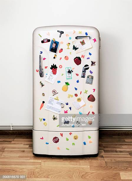 Fridge covered in magnets, notes and photographs
