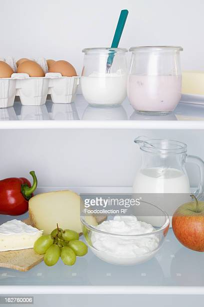 Fridge filled with dairy product eggs fruits and vegetable
