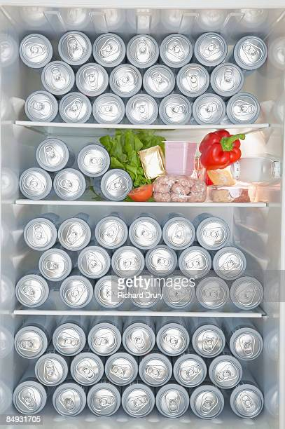 Fridge full of beer cans