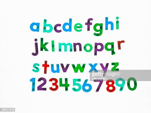 Fridge magnet letters and numbers.