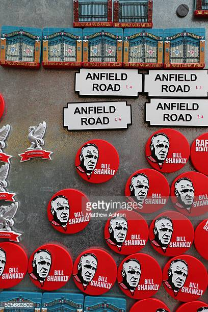 Fridge magnets celebrating exLiverpool manager Bill Shankly regarded as one of football's greatest managers for sale outside Anfield Stadium home of...
