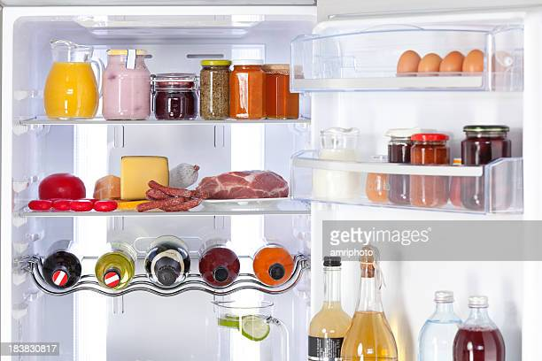 fridge with nutrition and drinks