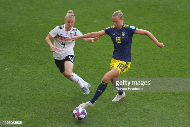 Fridolina Rolfo of Sweden and Leonie Maier of Germany battle for the ball during the 2019 FIFA Women's World Cup France Quarter Final match between...