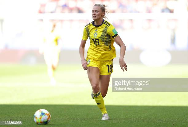 Fridolina Rolfo of Sweden in action during the 2019 FIFA Women's World Cup France group F match between Chile and Sweden at Roazhon Park on June 11...