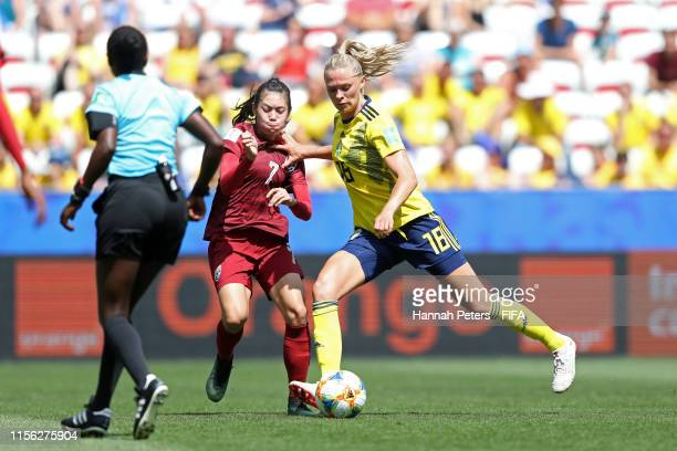 Fridolina Rolfo of Sweden scores her team's third goal during the 2019 FIFA Women's World Cup France group F match between Sweden and Thailand at...