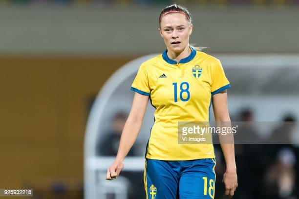 Fridolina Rolfo of Sweden women during the Algarve Cup 2018 match between Canada and Sweden at the Estadio Municipal da Bela Vista on February 28...