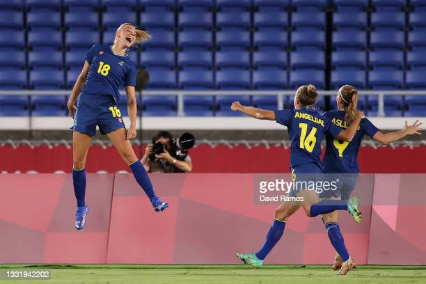 Fridolina Rolfo of Team Sweden celebrates after scoring their side's first goal during the Women's Semi-Final match between Australia and Sweden on...