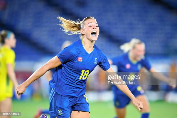 Fridolina Rolfo of Team Sweden celebrates scoring her side's first goal during the Women's Semi-Final match between Australia and Sweden on day ten...