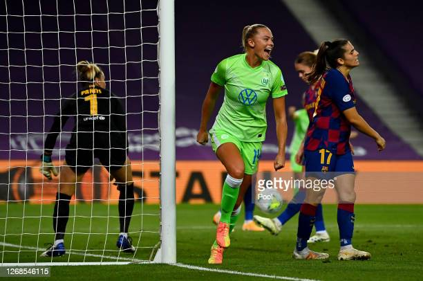 Fridolina Rolfo of Vfl Wolfsburg celebrates after scoring her team's first goal during the UEFA Women's Champions League Semi Final between VfL...