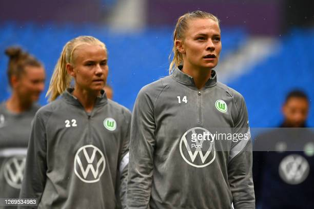 Fridolina Rolfo of Vfl Wolfsburg during the training session one day ahead of the UEFA Women's Champions League Final between Olympique Lyonnais and...