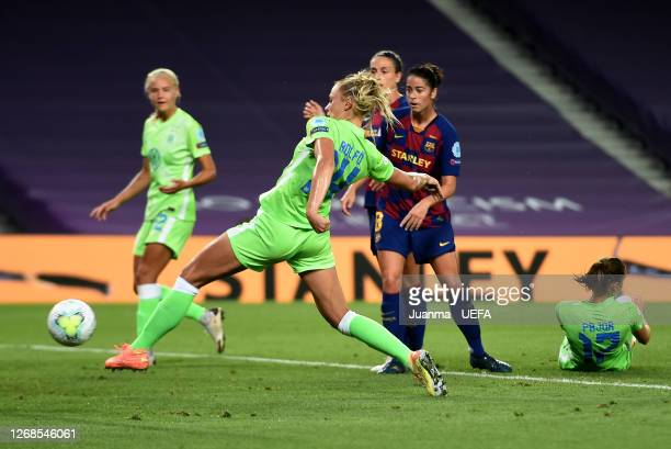 Fridolina Rolfo of Vfl Wolfsburg scores her team's first goal during the UEFA Women's Champions League Semi Final between VfL Wolfsburg and FC...