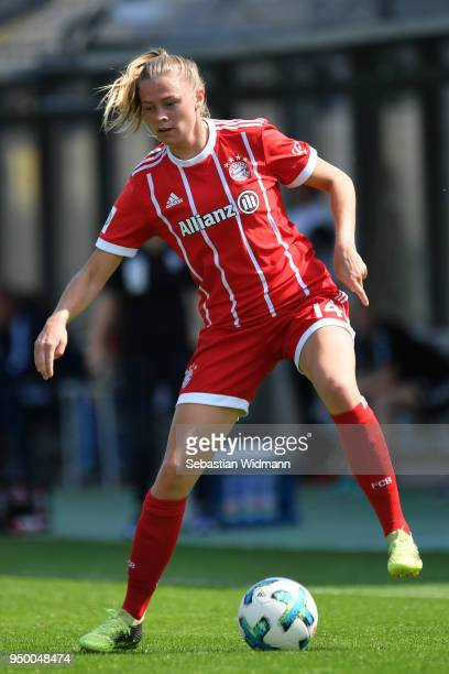 Fridolina Rolfoe of Bayern Muenchen plays the ball during the Allianz Frauen Bundesliga match between FC Bayern Muenchen Women's and USV Jena Women's...