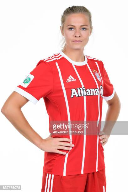 Fridolina Rolfoe of Bayern Muenchen poses during the Allianz Frauen Bundesliga Club Tour at FC Bayern Muenchen Campus on August 20 2017 in Munich...