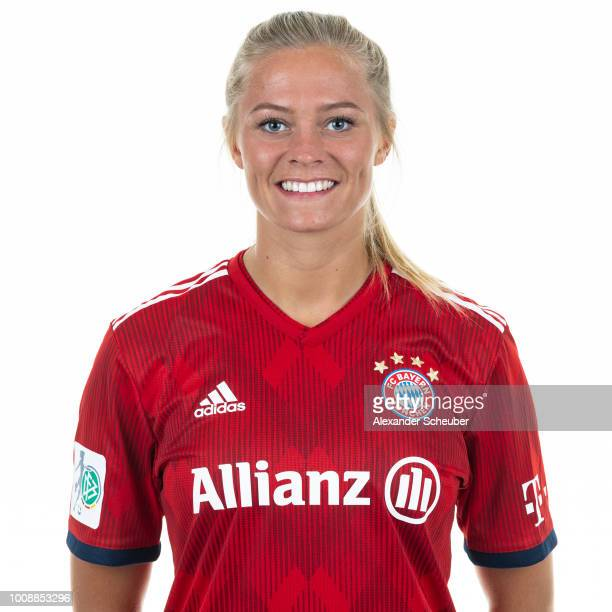 Fridolina Rolfoe of Bayern Muenchen poses during the FC Bayern Muenchen Women's team presentation at FC Bayern Muenchen Campus on July 30 2018 in...