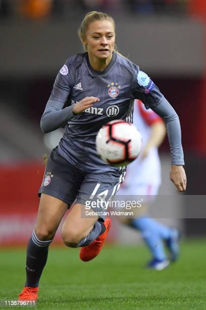 Fridolina Rolfoe of Bayern Munich plays the ball during the UEFA Women's Champions League Quarter Final Second Leg match between Bayern Munich and...