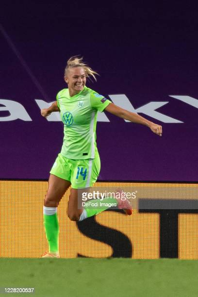 Fridolina Rolfoe of VfL Wolfsburg celebrates after scoring her team's first goal during the UEFA Women's Champions League Semi Final between VfL...