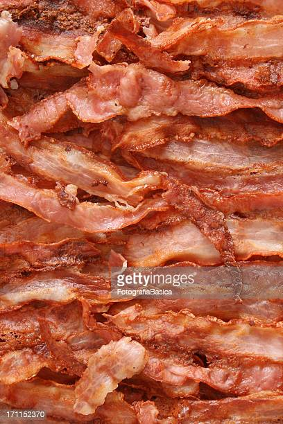 Fried bacon background