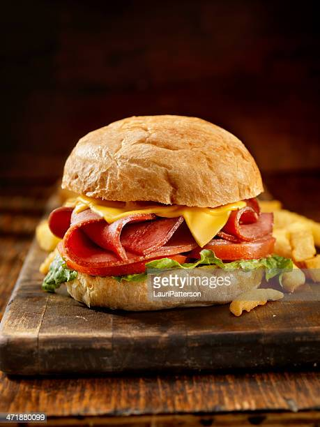 fried bologna sandwich with fries - baloney stock photos and pictures