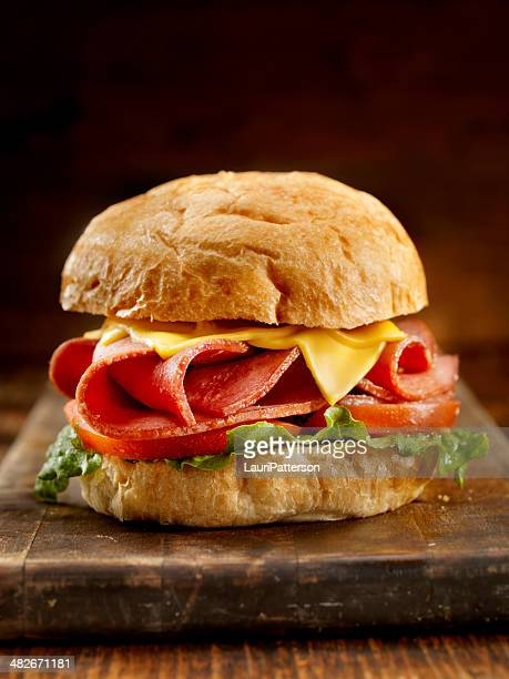 fried bologna sandwich with fries - sausage bap stock photos and pictures