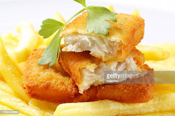 Fried breaded fish with French fries