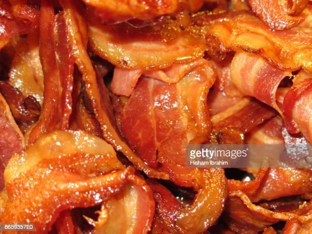 Fried breakfast bacon, Close-up.