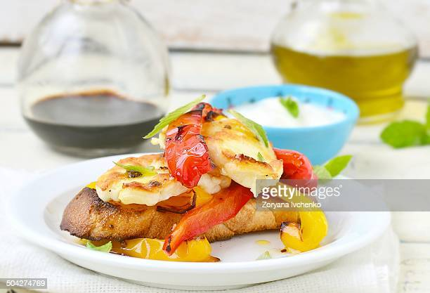 fried cheese halloumi with grilled sweet pepper