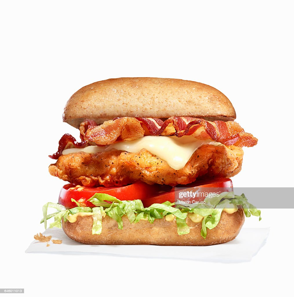 Fried chicken and bacon sandwich : Stock Photo