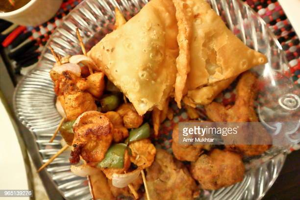 Fried chicken and samosa (South Asian Food)
