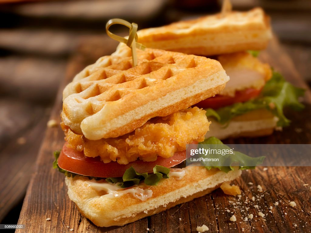 Fried Chicken and Waffle Sandwich : Stock Photo