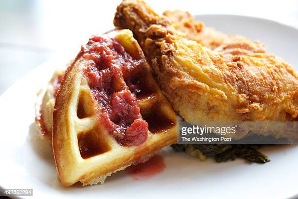 BETHESDA MD Fried Chicken and Waffles at Barrel Crow restaurant photographed in Bethesda MD