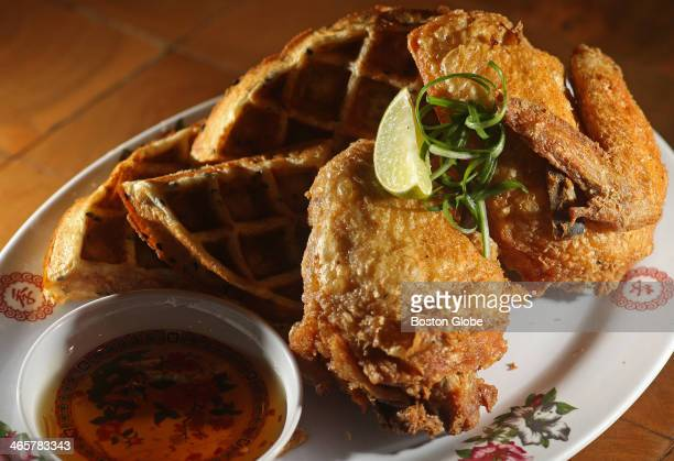 Fried chicken and waffles from Myers Chang in Boston photographed on January 20 2010