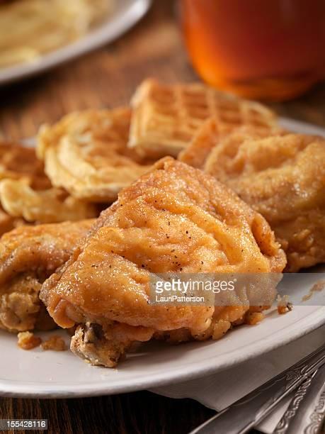 Poulet frit et des gaufres