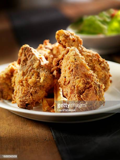 fried chicken and waffles - chicken and waffles stock photos and pictures