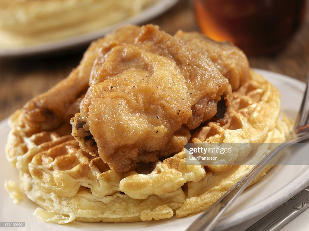 Fried Chicken and Waffles : Stock Photo