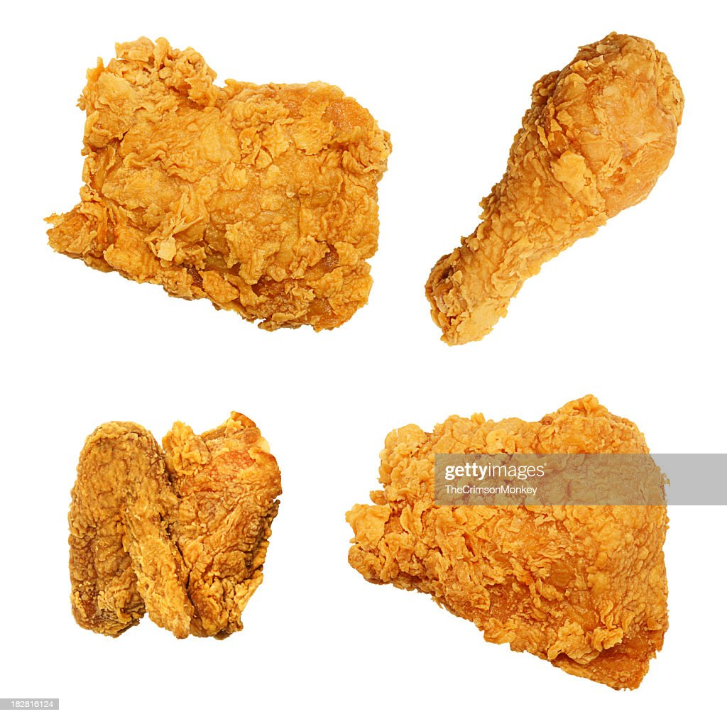 Fried Chicken Isolated Collection Assortment : Stock Photo