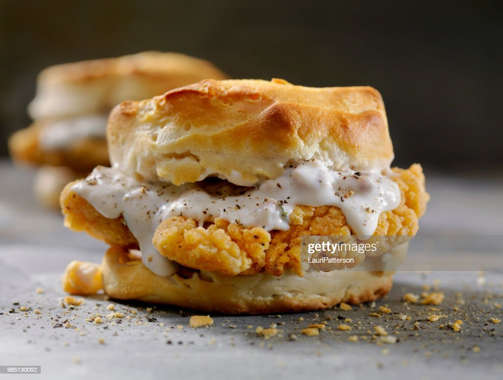 Fried Chicken Sandwich with Sausage Gravy on a Biscuit : Stock Photo
