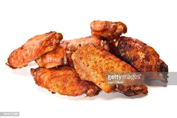 fried chicken wings on a white background - chicken wings stock pictures, royalty-free photos & images
