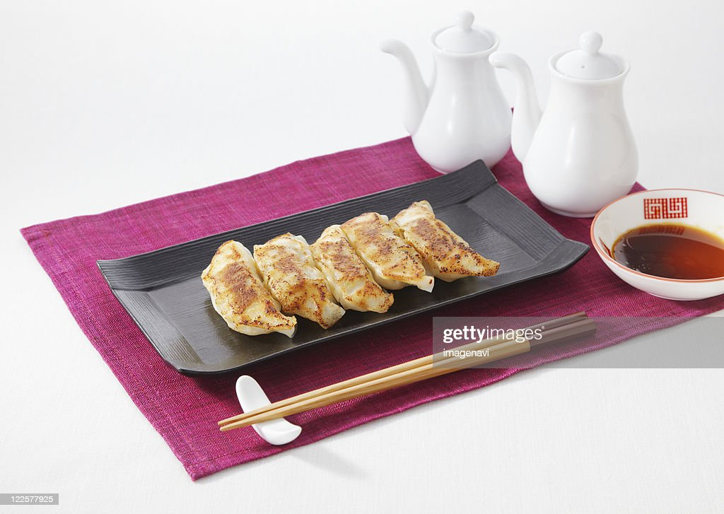 Fried Chinese dumplings : Stock Photo