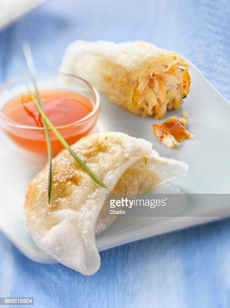 Fried crab raviolis with sweet and sour sauce